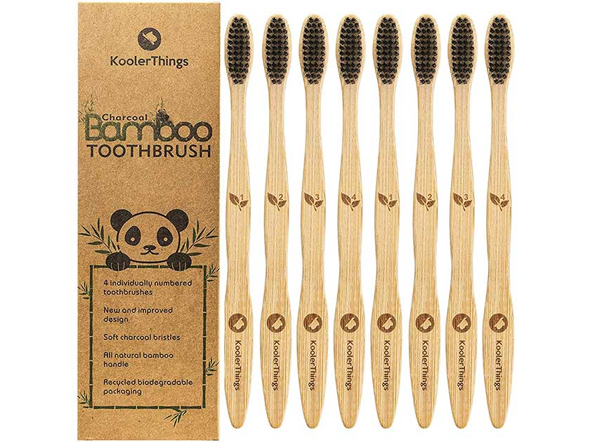 Biodegradable Natural Charcoal Bamboo Toothbrushes
