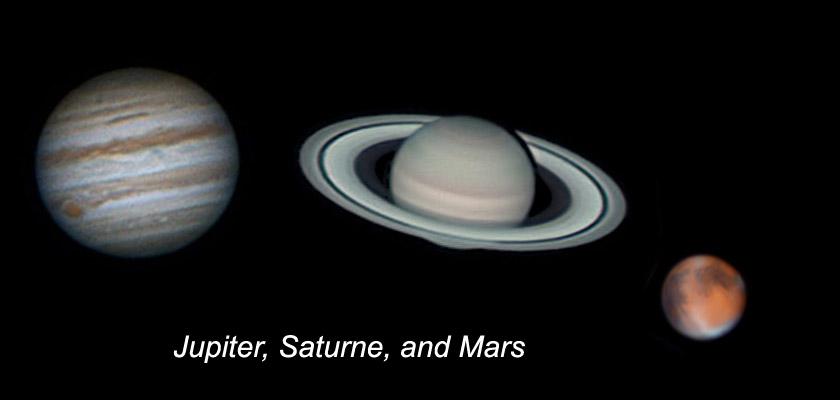 Jupiter, Saturne, and Mars as seen through Celestron NexStar 8SE