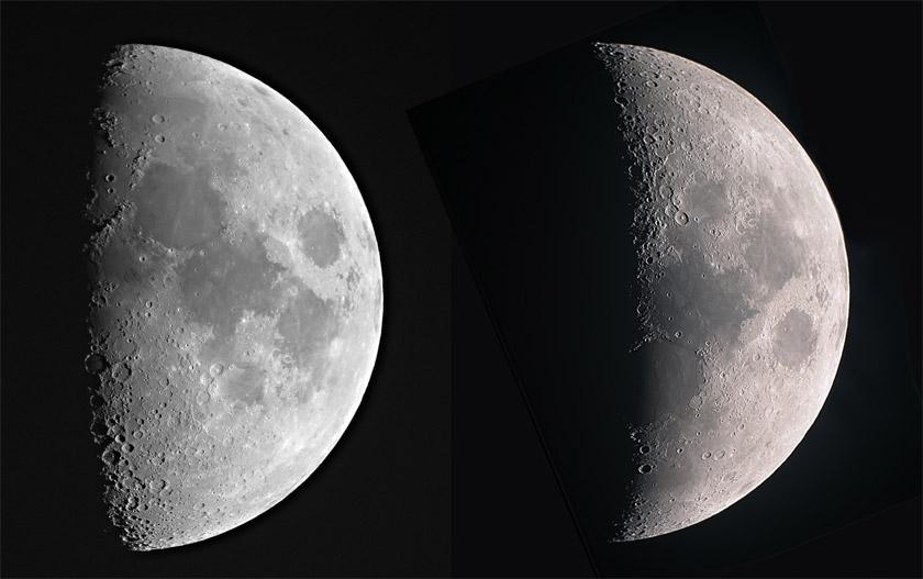 The moon as seen through a Celestron NexStar SE4 and an SE8