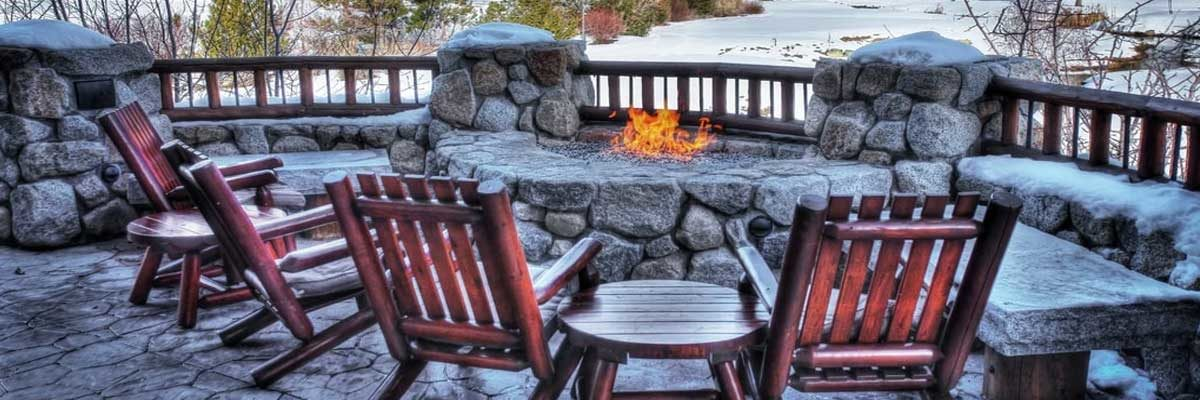 around the fire on the patio