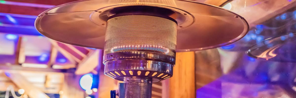 burning patio heater
