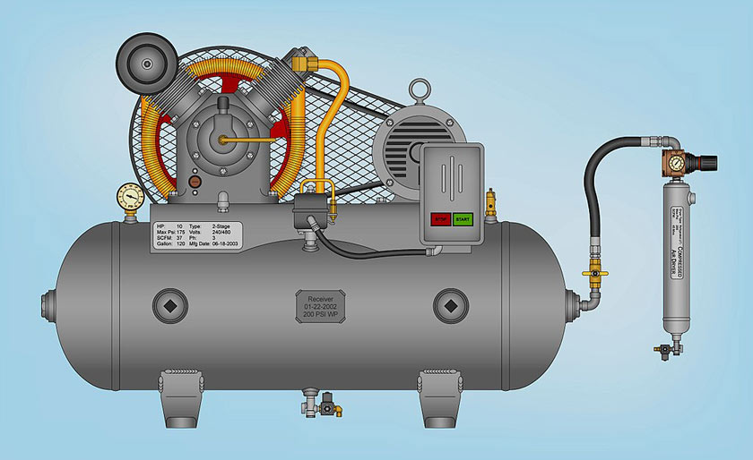 side view of air compressor