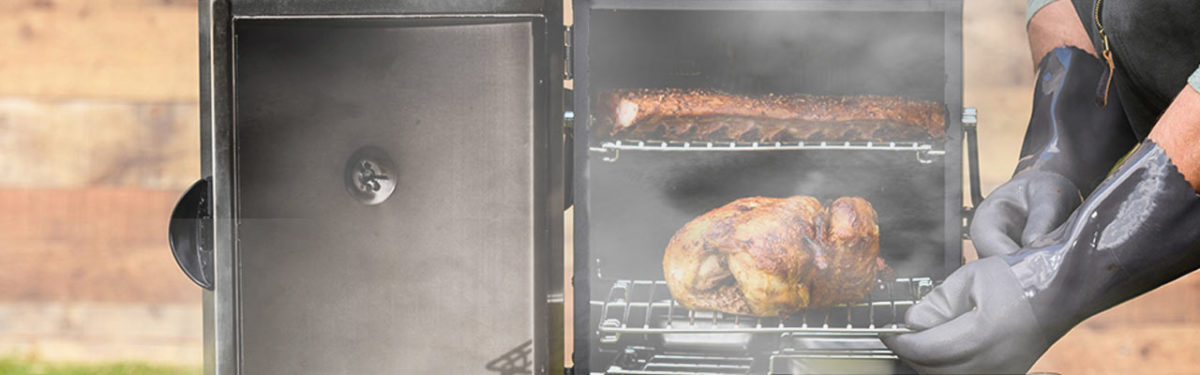 Electric smoker with meat inside