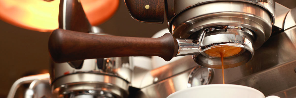 detail of portafilter in espresso machine