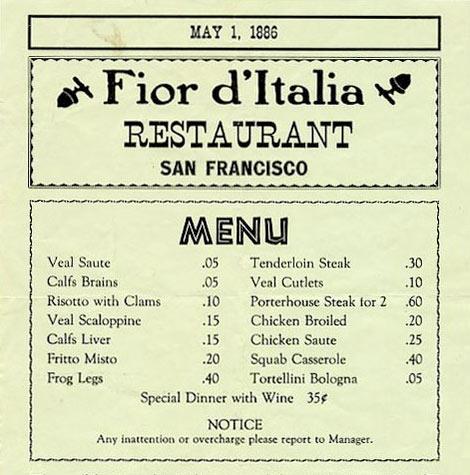 fior's very first menu