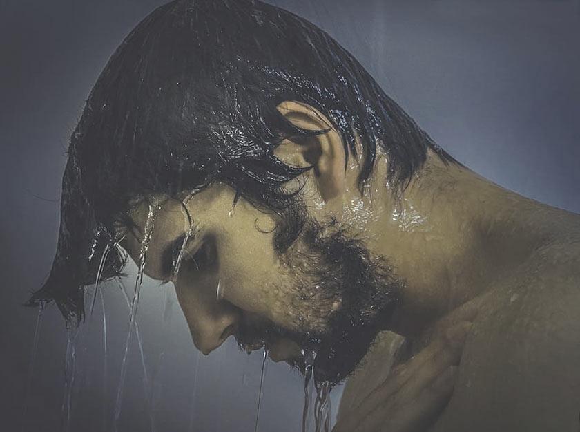 guy under the shower