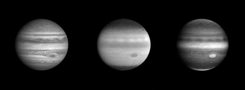 Jupiter, as seen through three different filters