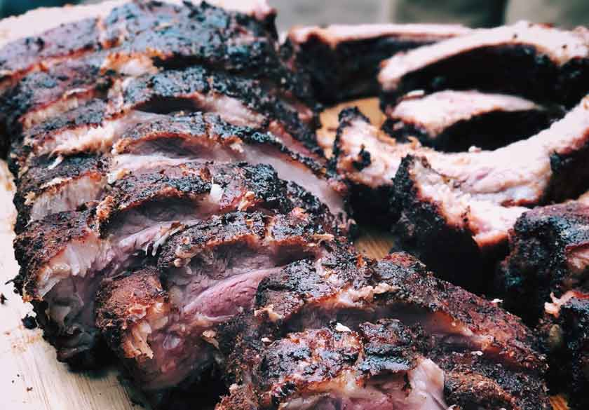 Nicely charred ribs