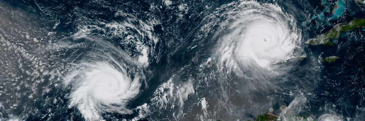two hurricanes close to each other